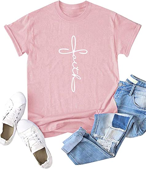 Festnight Womens Letters Print Plus Size T Shirt Casual Cotton Short Sleeve Tops V-Neck Graphic Blouse Tees