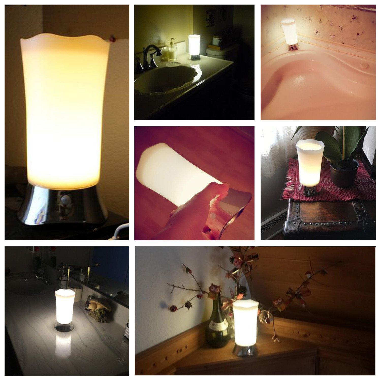 Portable Retro Battery Powered Light for Bedroom ZEEFO Table Lamps//Indoor Motion Sensor LED Night Light Dining and Reading 005-Silver Babyroom Bathroom