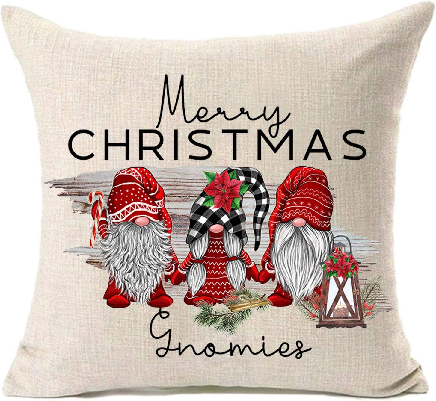MFGNEH Merry Christmas Pillow Covers 16x16 Inches Gnomies Christmas Decorations Farmhouse Cotton Linen Throw Pillow Case Cushion Cover,Gnome Christmas Decor