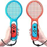 マリオテニス エースに対応テニスラケット Nintendo switch Joy-Con ハンドル 2個セッット マリオテニスなどのテニスゲームに対応 落下防止ストラップ付き 軽量ABS製 テニスゲームの臨場感 2点セット (ブルー·レッド)