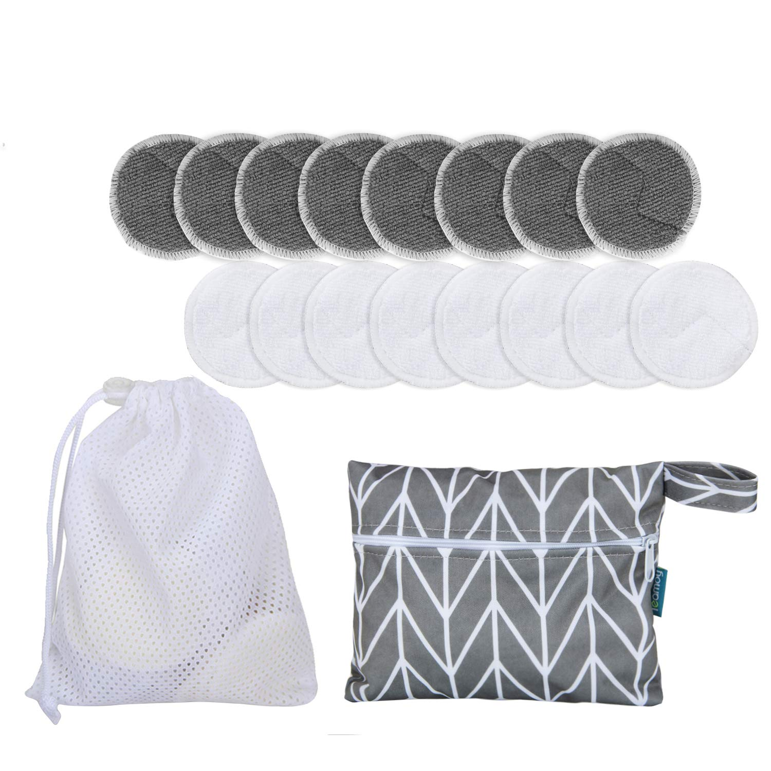 16pcs Reusable Make up Remover Pads with 2 EXTRA Bags(Laundry Bag+Storage Bag) By Teamoy