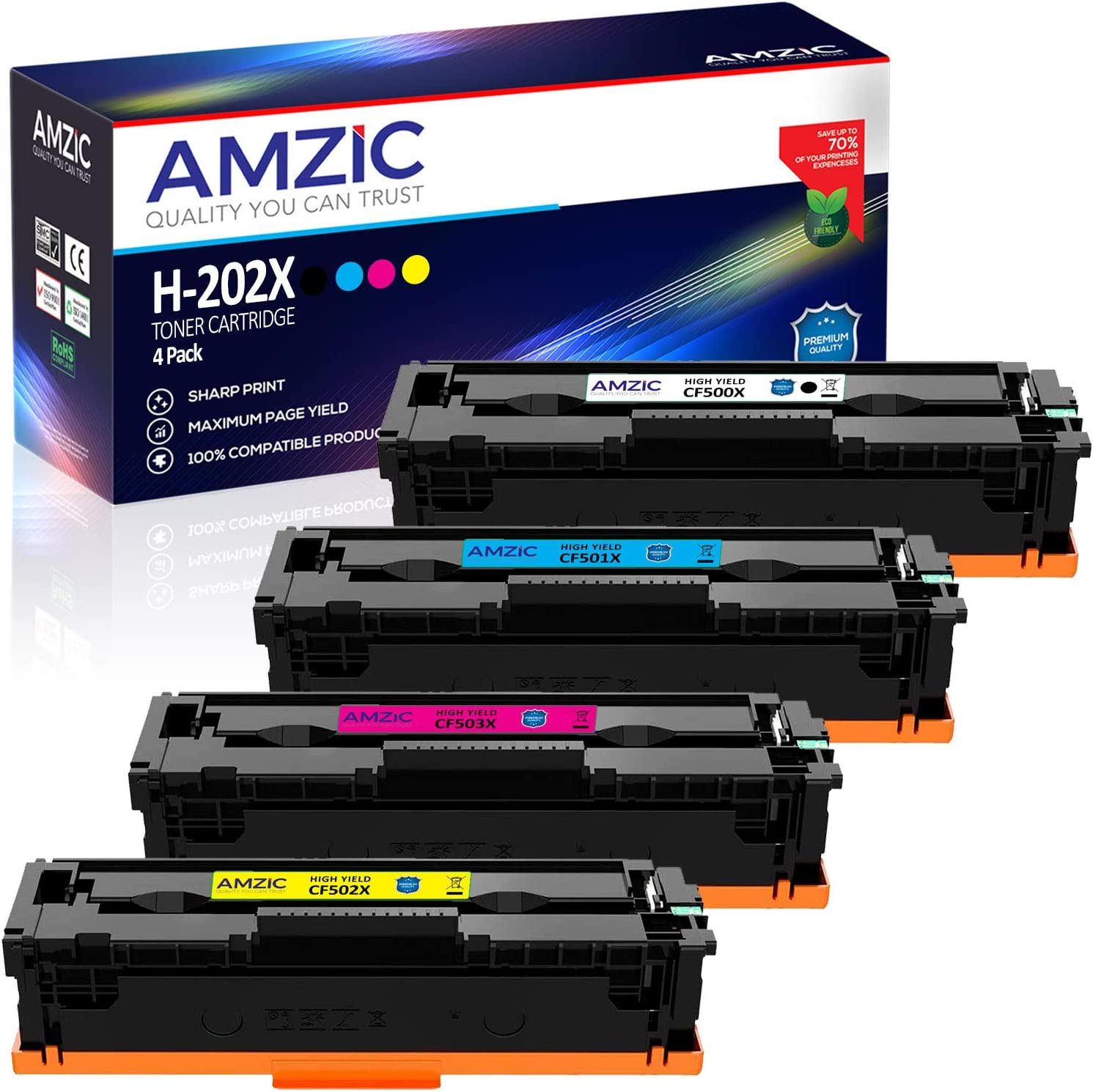 AMZIC Compatible Toner Cartridges Replacement for HP 202X 202A CF500X CF501X CF502X CF503X High Yield for use with HP Color LaserJet Pro MFP M280nw M281fdw M281cdw M254nw (1 Set (4-Pack)