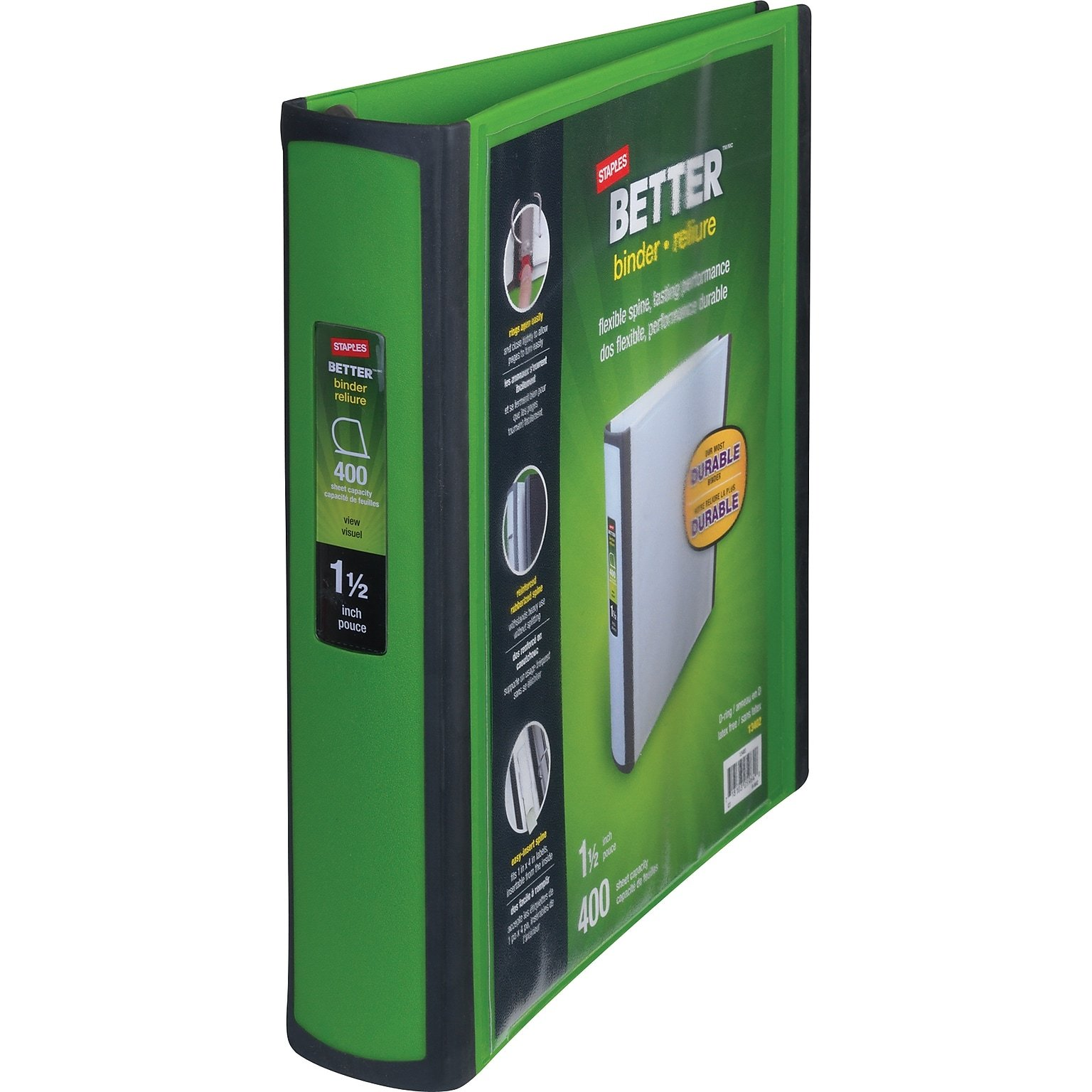 Staples 1-1/2 Inch Better View Binders with D-Rings, Green