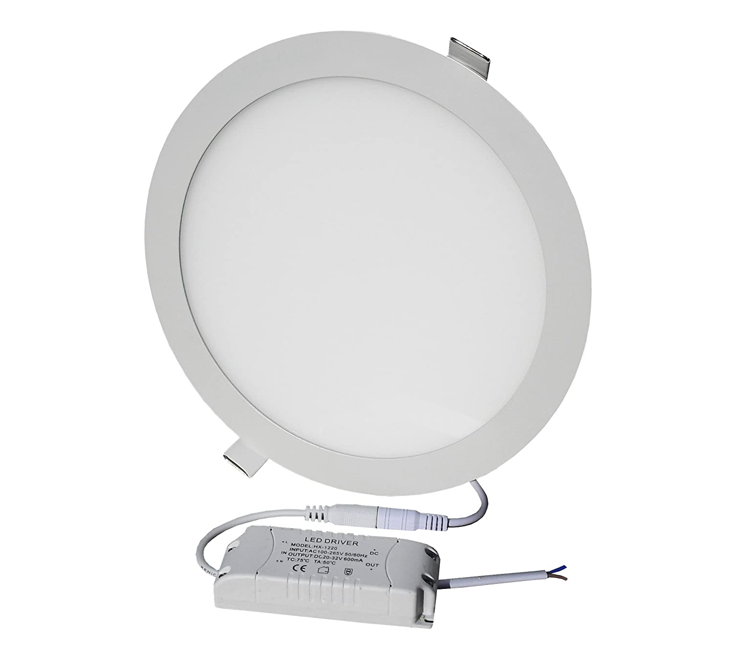 Lowenergie 18w LED Round Ceiling Panel Light Day White Recessed Down Lighting, 225mm dia, 150w Halogen Equivalent (6000K)