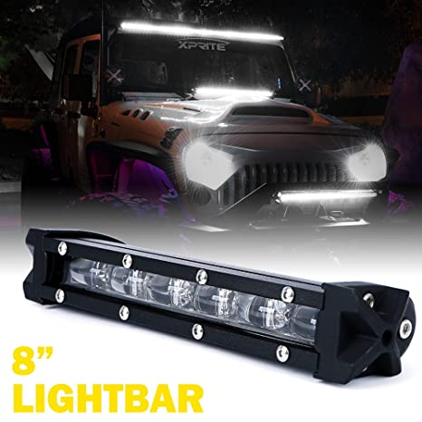 Amazon xprite ultra thin single row slim led light bar 8 30w xprite ultra thin single row slim led light bar 8quot 30w cree lightbar aloadofball Image collections