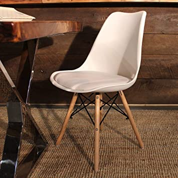 Finch Fox Eames Replica Nordan DSW Stylish & Modern Furniture Plastic Chairs with Cushion for Cafeteria Seating/Dining Chair/Side Chair/Kitchen/Restaurants/Hotels (White Color)