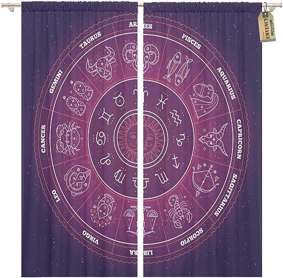 Golee Window Curtain Zodiac Circle Horoscope Signs Thin Line Astrology Symbols Home Decor Pocket Drapes 2 Panels Curtain 104 x 96 inches