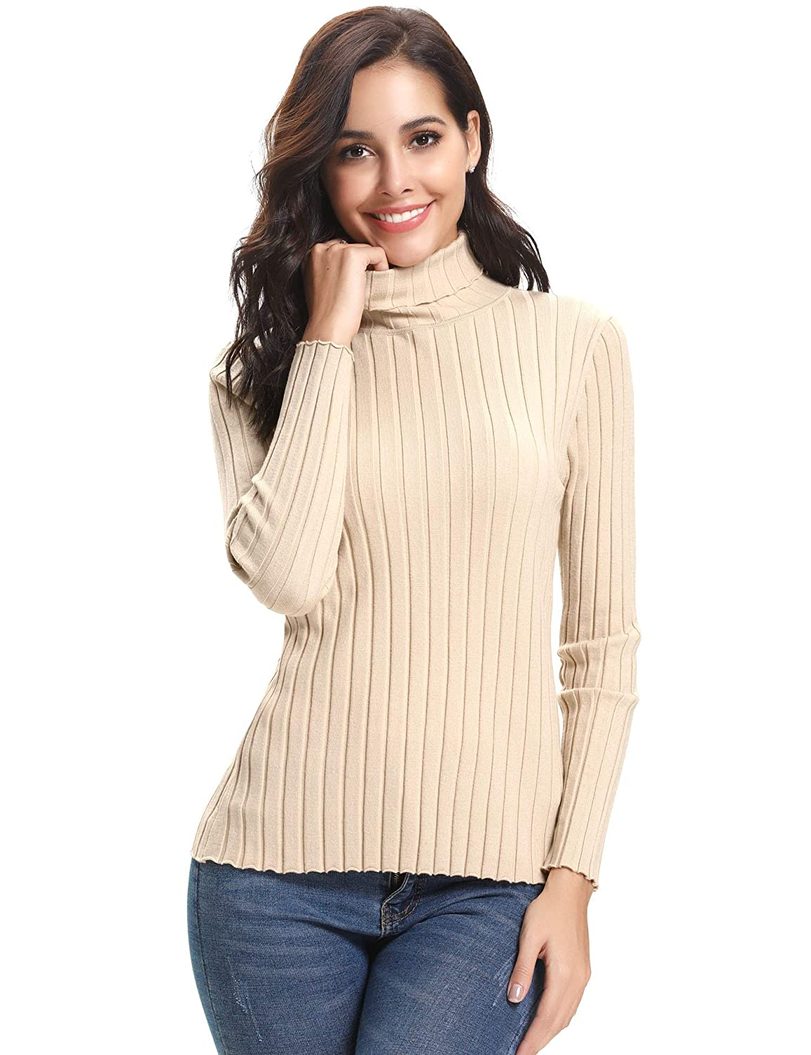 7fb4cd1f370 Abollria Women s Long Sleeve Solid Lightweight Soft Knit Mock Turtleneck  Sweater Tops Pullover at Amazon Women s Clothing store
