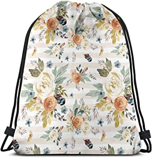 Western Autumn More Florals Ivory Stripes_74594 Custom Drawstring Shoulder Bags Gym Bag Travel Backpack Lightweight Gym for Man Women 16.9'x14'