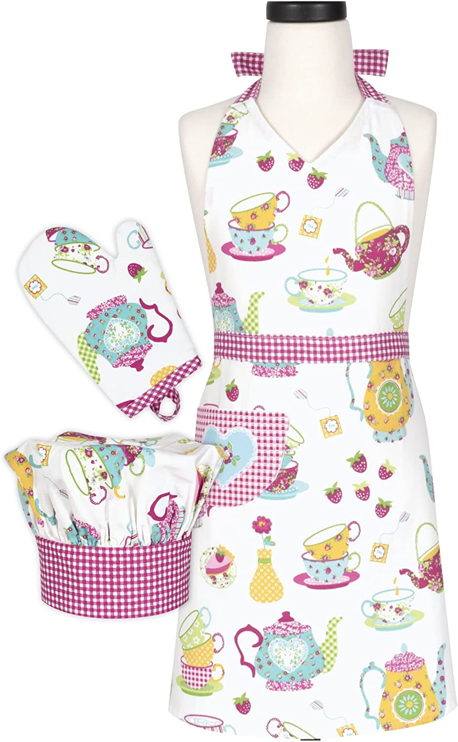 Handstand Kitchen Child's 'Spring Tea Party' 100% Cotton Apron, Mitt and Chef's Hat Gift Set
