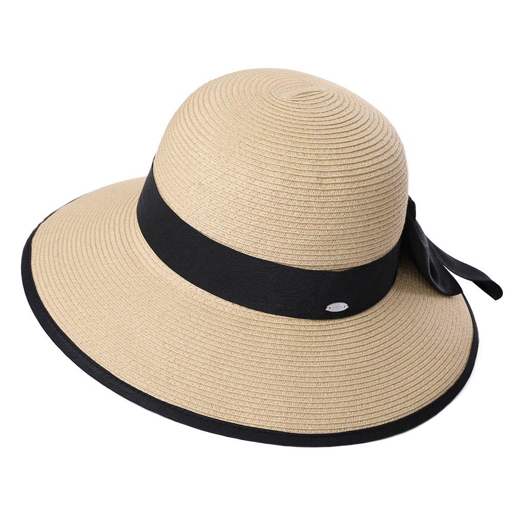 SiggiHat Women Summer Straw Sun Hat UPF Ladies Beach Accessories Fashions  Hats Fedora Wide Brim Packable Beige ecd06a060685