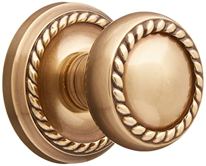 Classic Rope Rosette Set With Matching Rope Door Knobs Double Dummy In  Antique Brass. Old