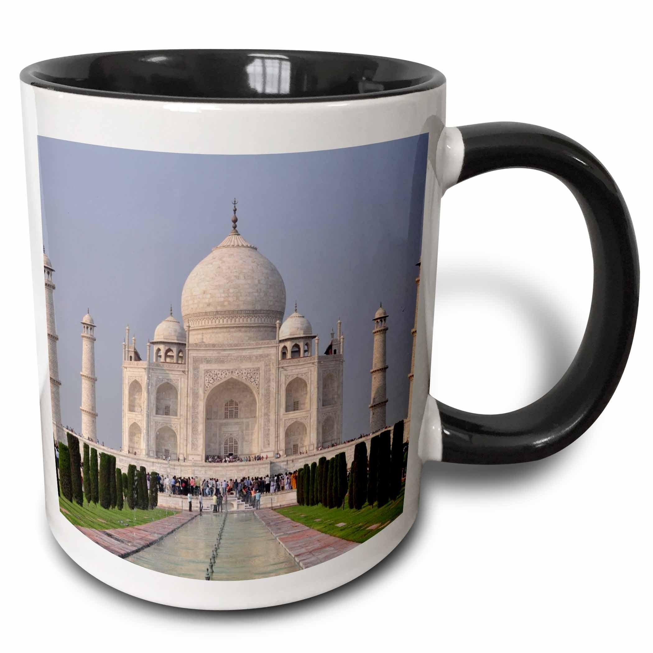 3dRose mug_268675_4 Taj Mahal in Delhi-India Ceramic, 11 oz, Black/White