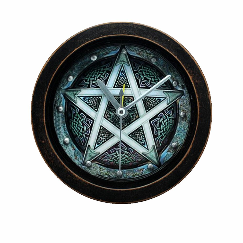 Usany 5 '' pentagram Vintage Pattern Silent Non-ticking Analog Quartz Desk Clock Alarm Clocks Round Table Clock 3D Clock