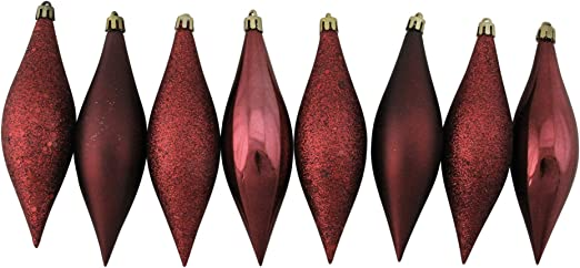 Northlight 8ct Shatterproof 4-Finish Finial Drop 5.5 Christmas Ornaments White
