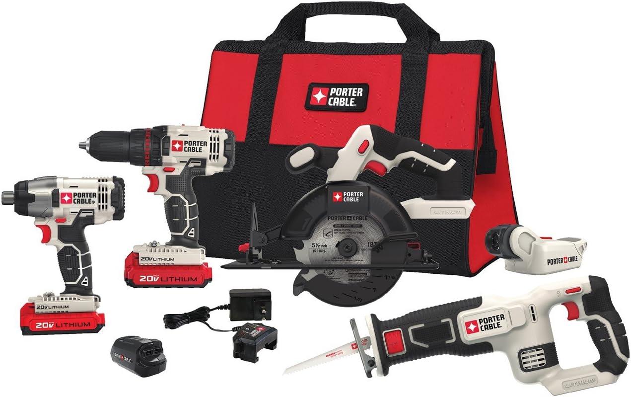 PORTER-CABLE 20V MAX Cordless Drill Combo Kit, 6-Tool PCCK617L6