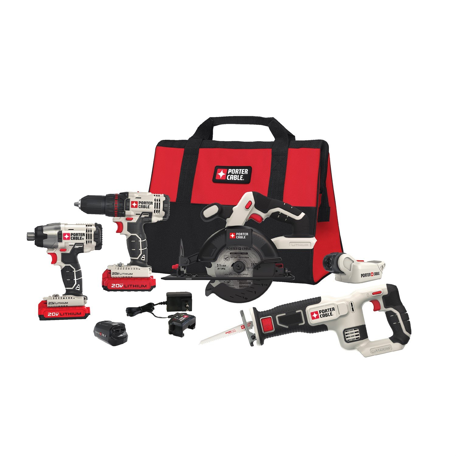 PORTER CABLE PCCK617L6 20V MAX Lithium Ion 6 Tool Combo Kit with Free USB Device