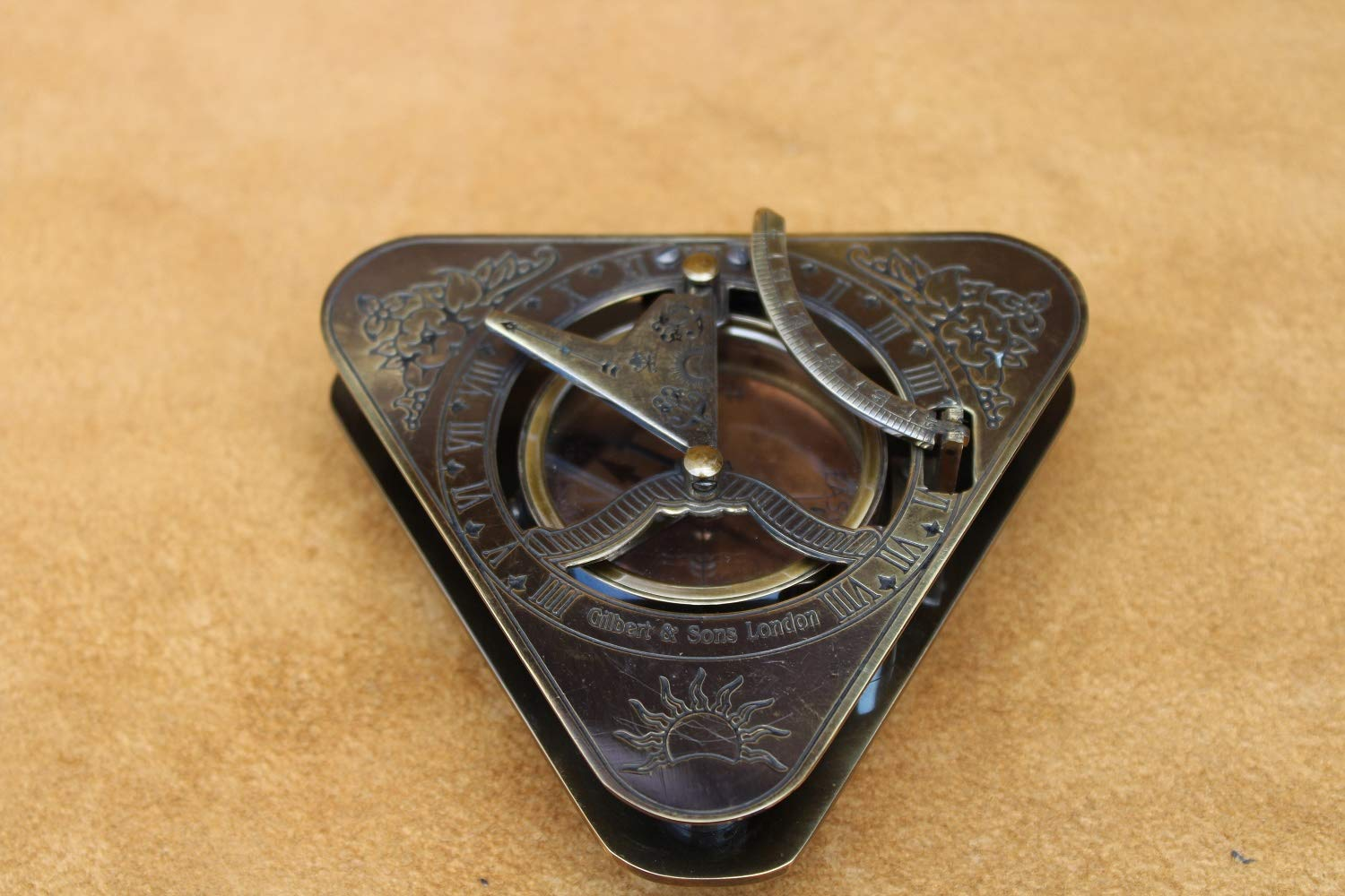 US Handicrafts History Brass Triangle Sundial Compass in Hardwood Box. by US Handicrafts (Image #3)