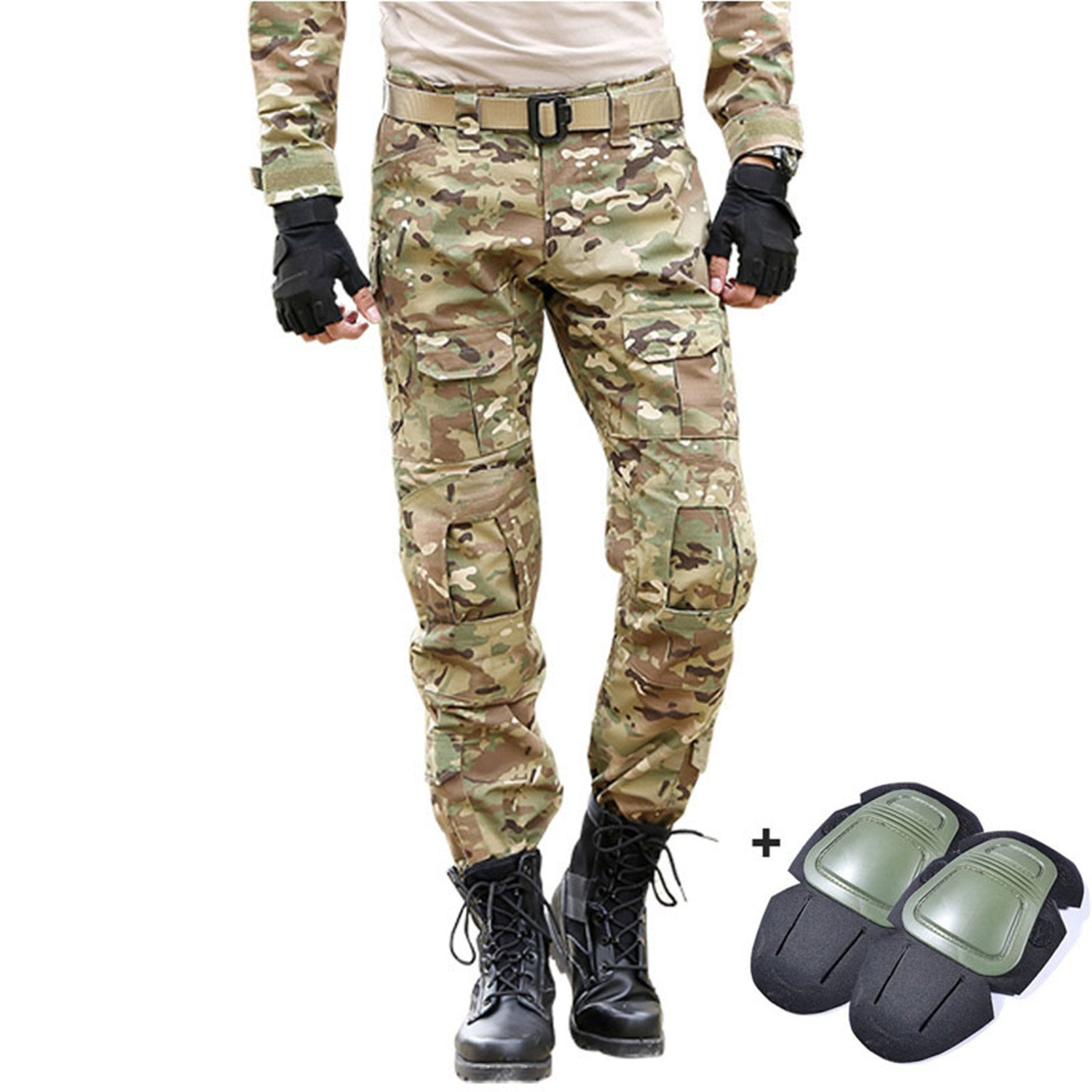 Dapengzhu Tactical Pants Camo Cargo Military PantMen's Airsoft Paintball Slim Casual Camouflage Cargo Trousers
