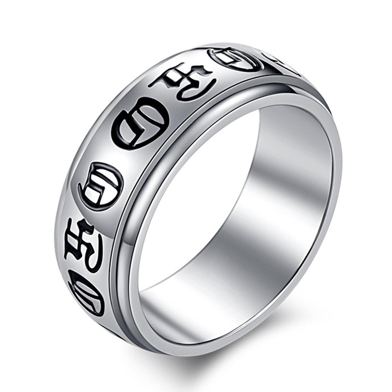 LILILEO Jewelry 8mm Titanium Steel Mystery Rune Ring For Men s Rings