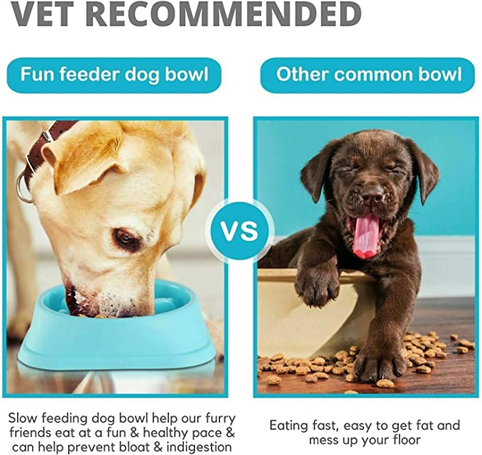 Gnvtntp Dog Bowl Slow Feeder,Bloat Stop Pet Bowl,Fun Feeder Eco-Friendly,Healthy Design pet Bowl,No-Spill Non-Skid Silicone Bowl for Dogs Cats and Pets