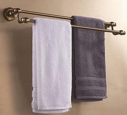 SDKIR-Accesorios de baño baño antiguo espacio sólido de aluminio con doble barra de toallas