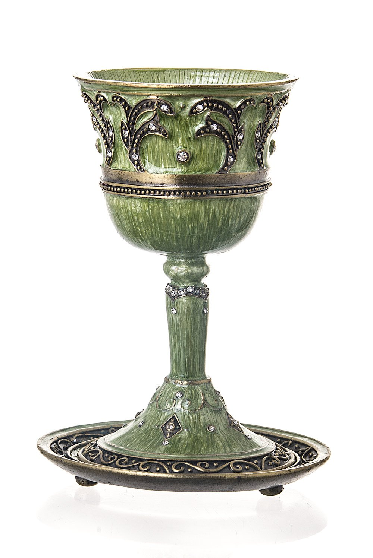 Elegant Jeweled Glass Ravenna Kiddush Cup with round tray