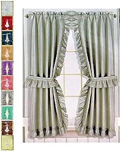 Better Home Ruffled Fabric Window Curtain Set, Mosaic - 2 Tie Backs - Adhesive Hooks (Grey)