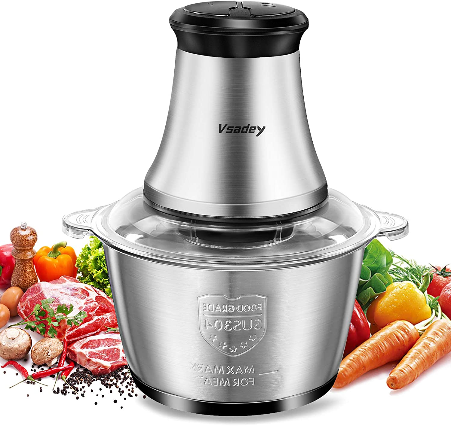 Vsadey Food Processor 8 Cup Electric Meat Grinder for Meat Vegetable Fruits Nut Herbs Blender with Stainless Steel Bowl,4 Sharp Blades,350W