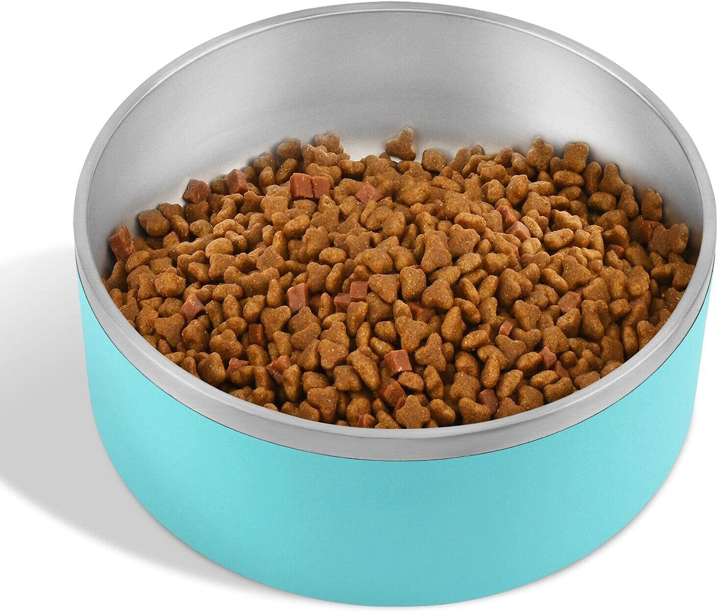 Dog Bowl, Stainless Steel Dog Bowl with 8Pcs Anti-Skid Rubber Stickers, No Spill Food and Water Bowl, Metal Food and Water Dish, Pet Feeder Bowls for Medium Large Dogs, Cats - 64Oz (8 Cup, Aqua Blue)