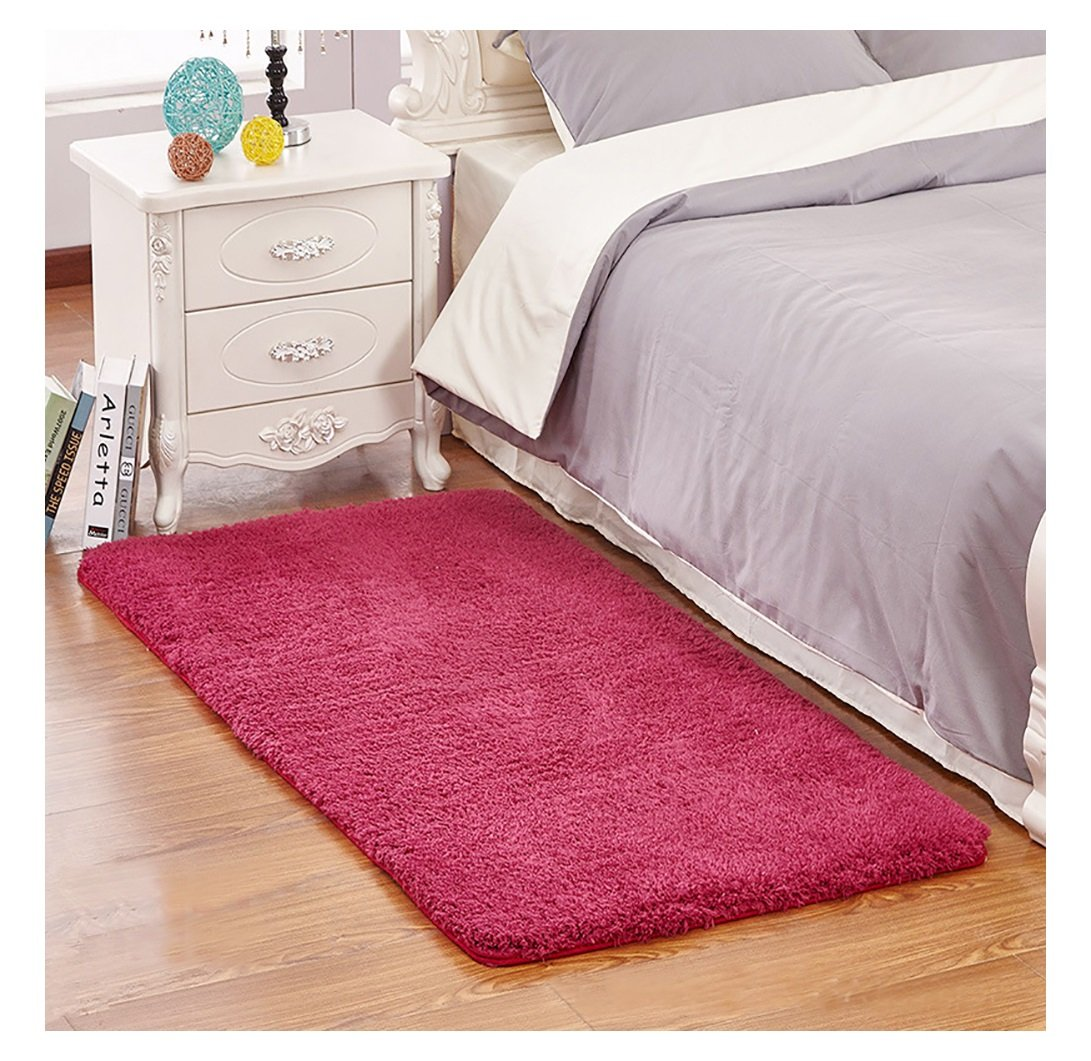 Ultra Soft Bedroom Stepping Carpet,Decorative Living Room Shaggy Area Rug,Fluffy Floor Mat with Anti-Slip Bottom (Burgundy,23'' x 35'')