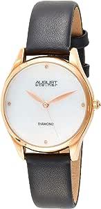 ساعة كوارتز للنساء بنمط عرض انالوج وسوار جلدي من اوغست شتاينر، موديل As8254bk