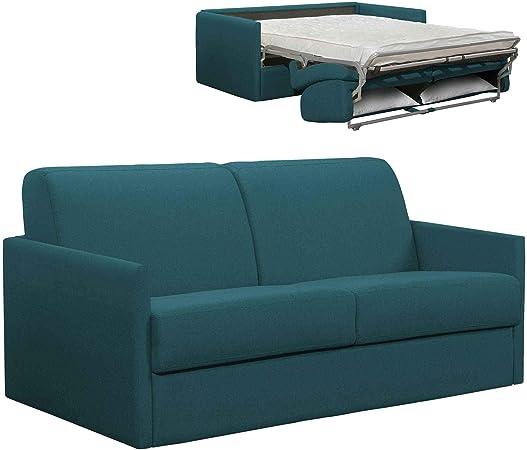 Mobilier Deco - Sofá convertible de 3 plazas, tejido azul petróleo apertura Express – LOUNA Slim