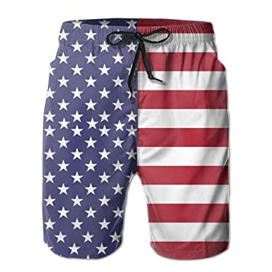 19b4477d03 UNIQUE Pants American Flag Men's Quick Dry Beach Board Shorts Summer Swim  Trunks For Father's Day