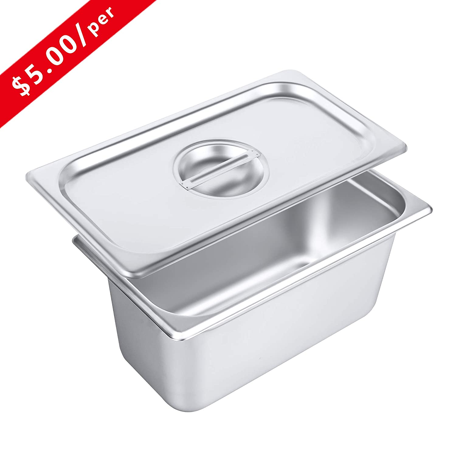 Lid for 1//3 Size Steam Pans with Handle 12 Pack Non-Stick Surface Kitma Pan Lids 1//3 Size Stainless Steel Solid Steam Table Pan Cover