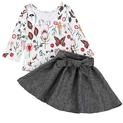 f6c47a565 Toddler Kids Baby Girls Outfit U-line Butterfly T-Shirt Long Sleeve Top +