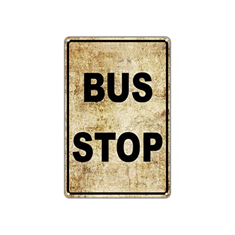 Amazon.com: Bus Stop No Car Parking Public Transportation Vintage ...