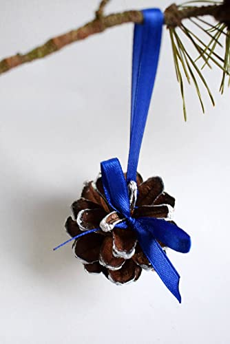 painted pine cones with atlas ribbon pine cone decor woodland decor wedding decor