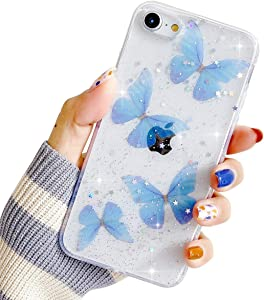 Compatible with iPhone 6/6s Case for Women Girls,Bling Glitter Silicone Bumper Cover Cute Blue Butterfly Sparkle Stars Design Clear Soft TPU Case for iPhone 6/6s 4.7''