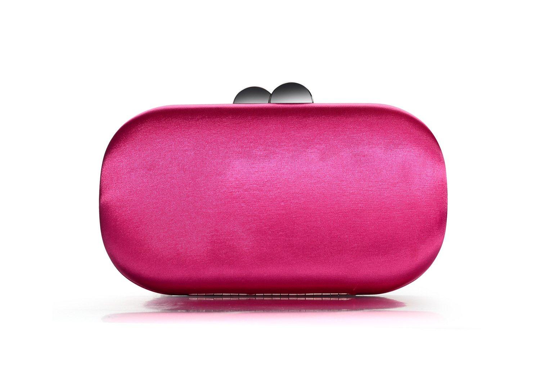 DMIX Womens Satin Silk Hard Case Box Clutch Evening Bags Fuschia
