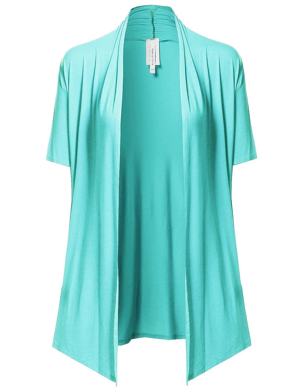 Viosi Women's Short Sleeve Draped Open Front Cardigan at Amazon ...