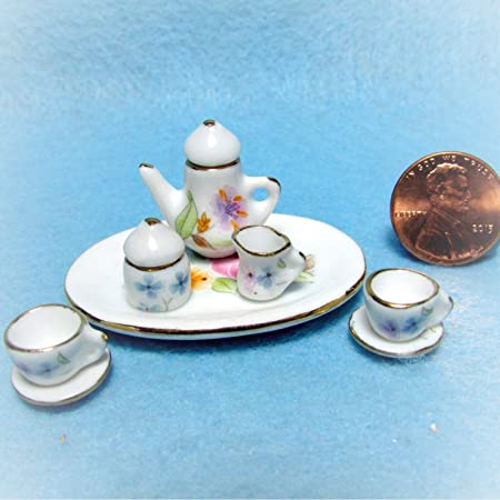 Doll House Cat Kitten Ceramic Tea Coffee Set Miniature Dining Room Accessory