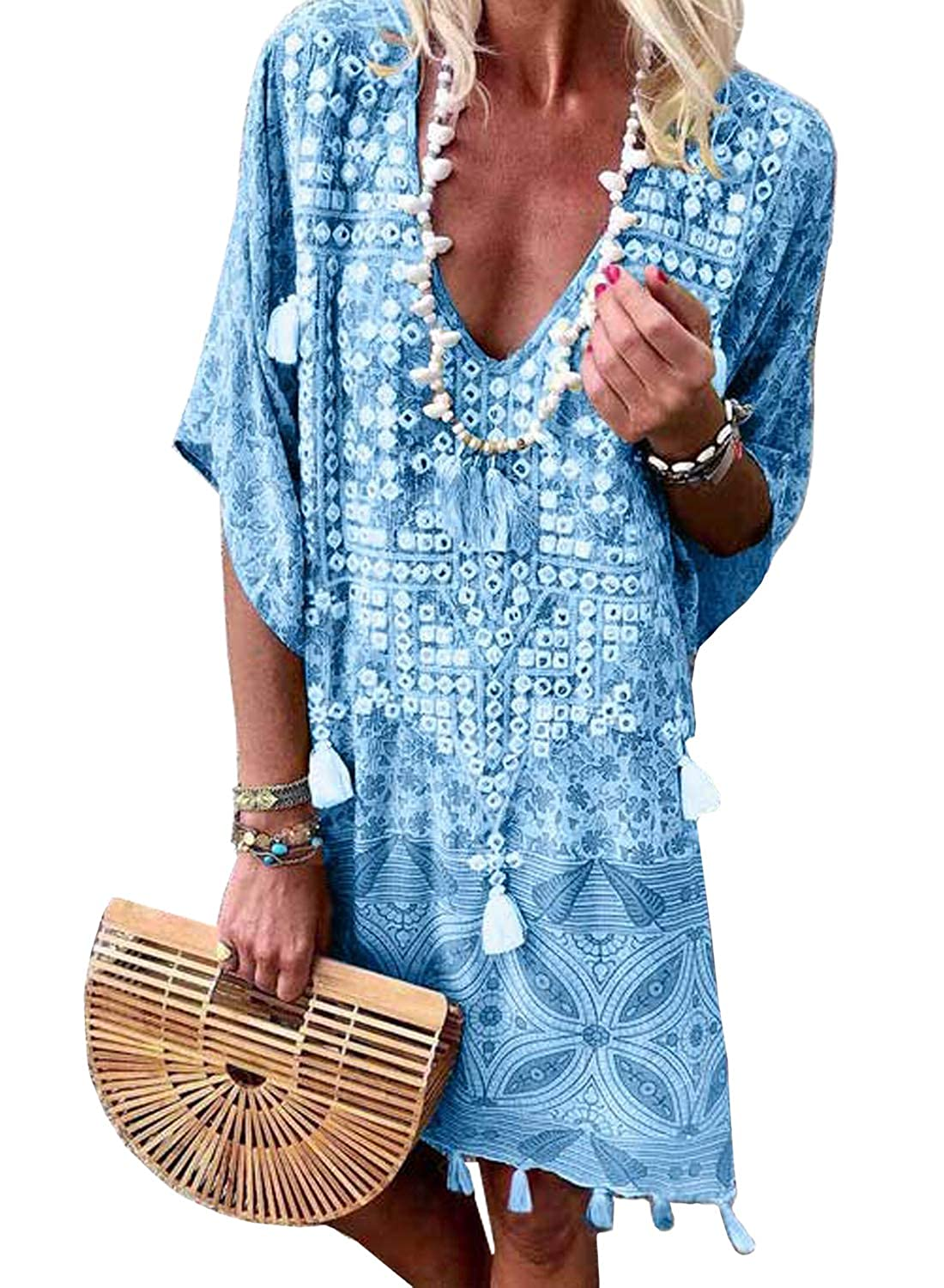 3e5517522b Sidefeel Women Crochet Tassel Chiffon Beachwear Bikini Cover ups White at  Amazon Women's Clothing store:
