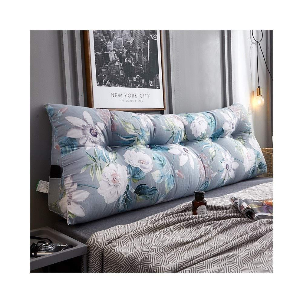 XXCushion Reading Pillow Firm Back Support Bed Rest Chair Lounge Backrest Cotton Canvas Jacket PP Cotton Core Mobile Phone Remote Control Storage Bag POUN (Size : 2.0m)