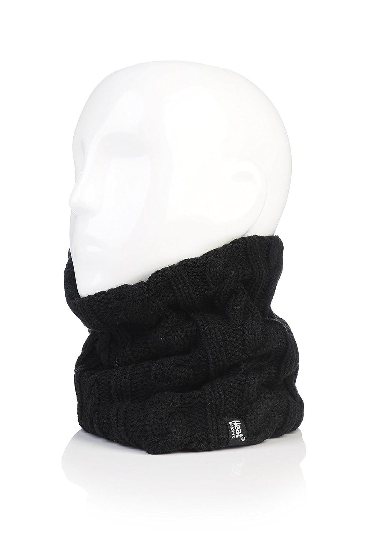 Damen Original thermisch Winter warme Wärmehalter Neck Warmer 3.4 Tog Fleece -Schal Rundschal mit Zopfmuster schwarz