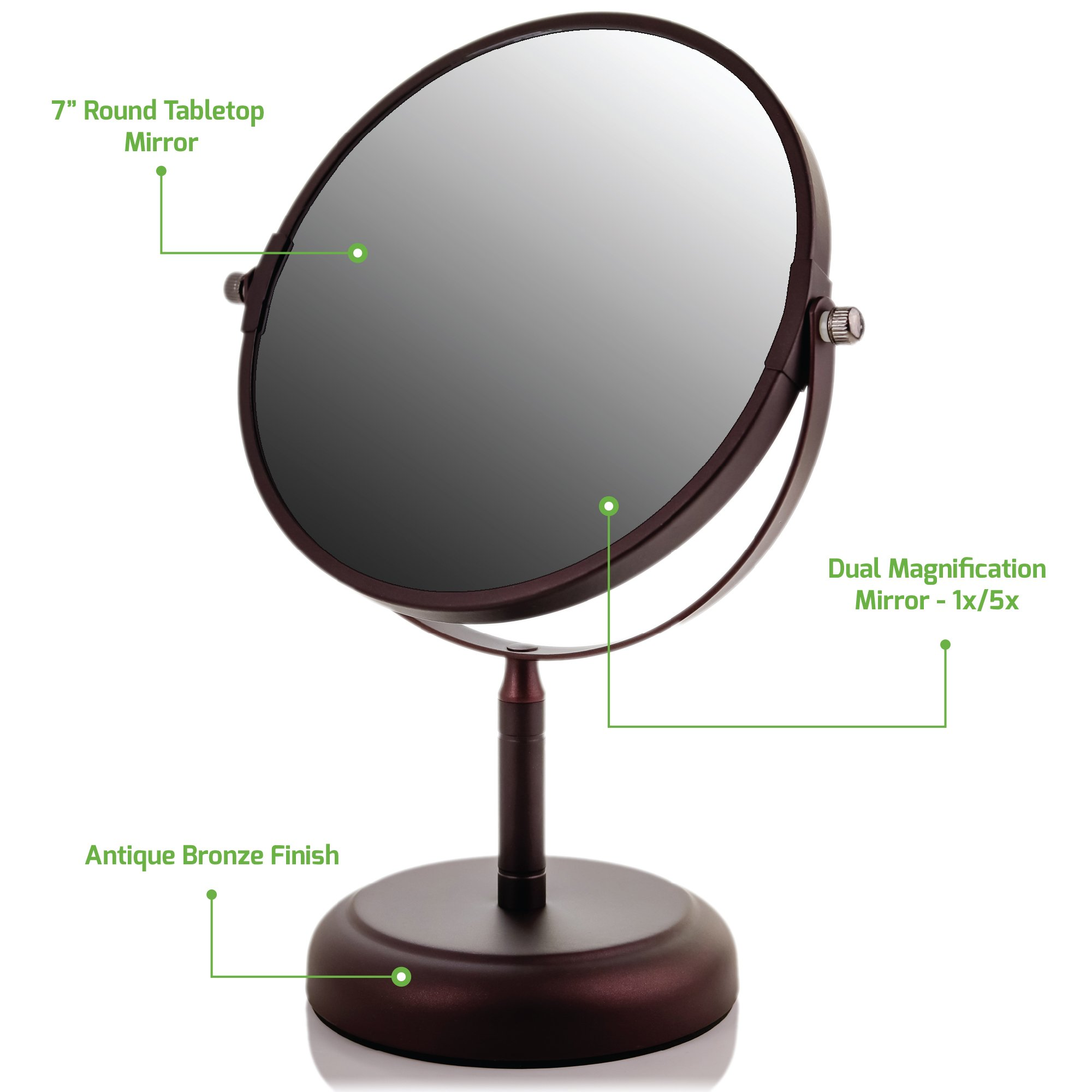 Ovente Round Tabletop Vanity Mirror, 7 Inch, Dual-Sided with 1x/5x magnification, Antique Bronze (MNLDT70ABZ1X5X)