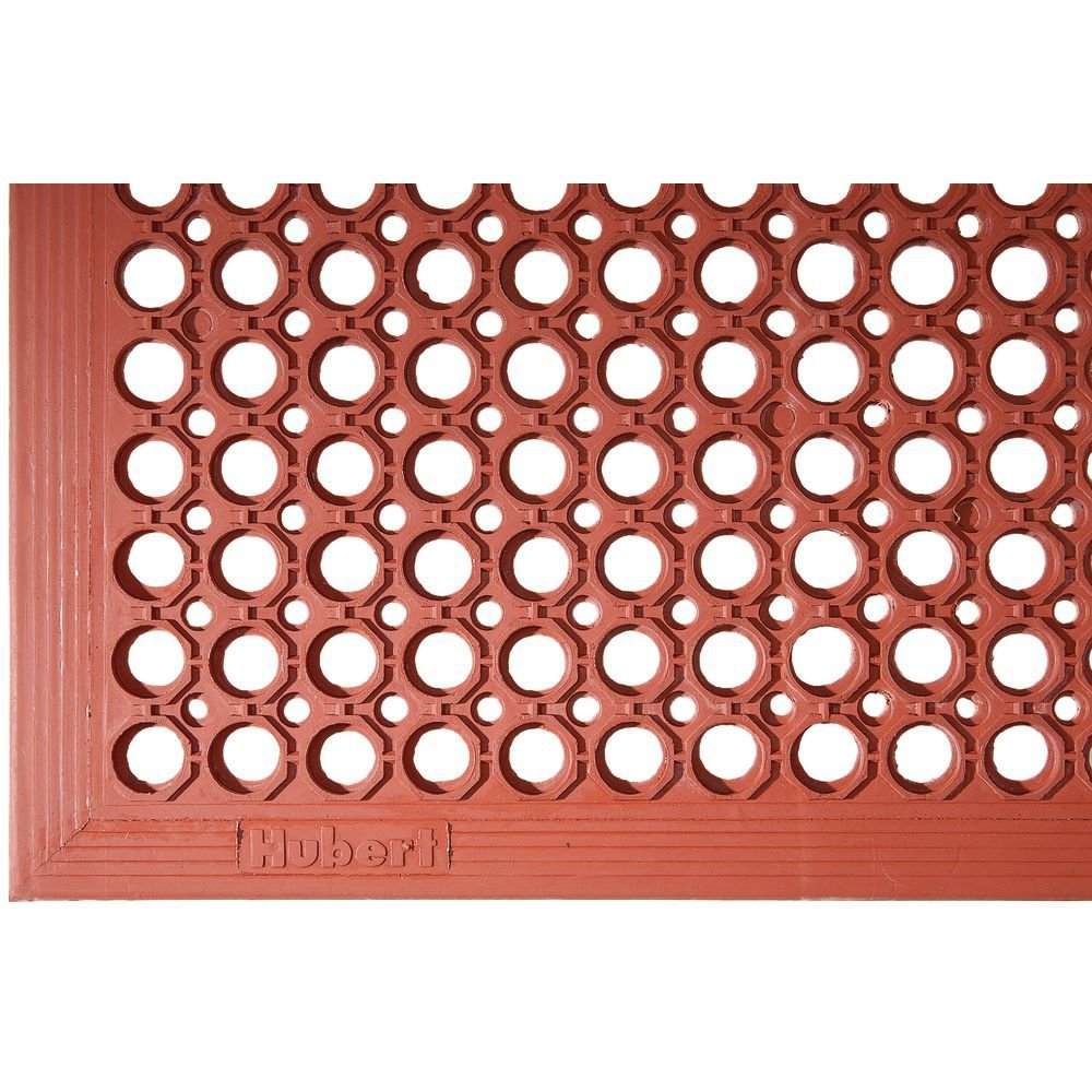 Hubert Anti-Fatigue Drainage Mat with Holes Red Rubber Grease-Resistant - 5'L x 3'W x 1/2''H