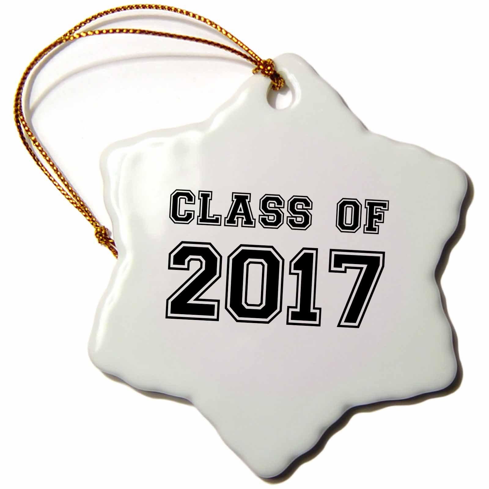 3dRose InspirationzStore Typography - Class of 2017 - Graduation gift - graduate graduating high school university or college grad black - 3 inch Snowflake Porcelain Ornament (orn_162668_1)