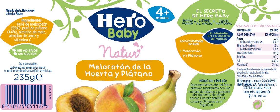 Melocotón De La Huerta Y Plátano. 235 g Sin gluten. A Partir De 4 Meses. Babynatur: Amazon.es: Alimentación y bebidas