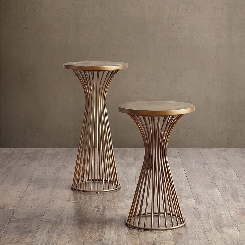 "INK+IVY Mercer Accent Table - Wire Frame Pedestal Base, Round Top Modern Mid-Century Hour Glass Retro Design, 30"" High, Bronze"